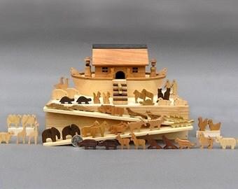 Miniature Noah's Ark with  60 Animals, Wooden Noahs Ark Noah Ark wood Toy Waldorf Nontoxic Noah Ark Animals Wooden Noahs Arc Montessori Gift