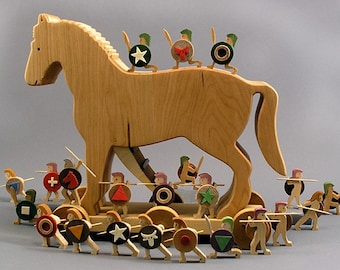 Trojan Horse Wooden Artistic Rendering of the Trojan War, Home Decor Gift for a Historian