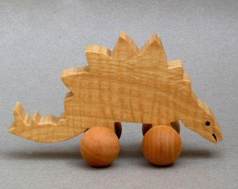 Stegosaurus Toy with Wheels Wooden Stego Dinosaur for Children  Animal Party Favor for Kids