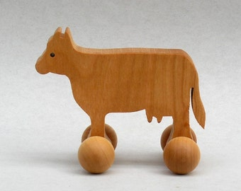 Cow Toy on Wheels,  Wooden Block Animals for Children, Farm Animals Party Favors Waldorf Wood Toy Montessori  Barnyard Animal Rolling Animal