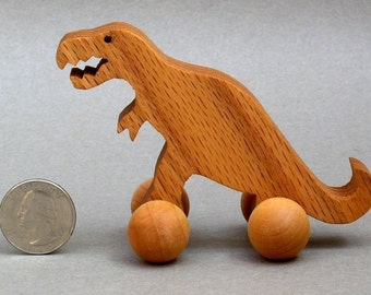 T Rex Toy with Wheels  Wooden Dinosaur Block Animal Kids Party Favors Tyrannosaurus Children Kids Boys Girls Toddlers nontoxic Gift Present