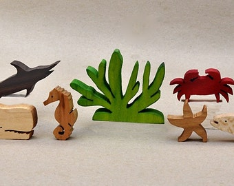 Sea Animal Set for Children Wooden Animal Blocks Organic Gifts for Kids Boys Girls Waldorf Montessori Toys Stocking Stuffer