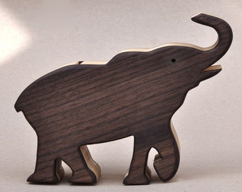 Elephant Piggy Bank Wooden Waldorf Toy for a Child  Animal Coin Savings Bank , Coin Box for Collectors, African Safari Wooden Animal