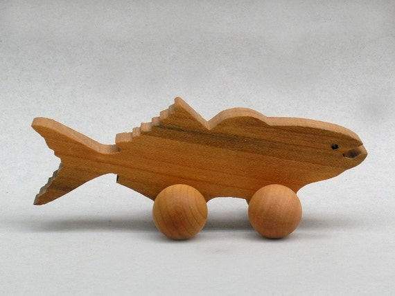 Cod Fish on Wheels Wooden Waldorf Block Animal Handmade Party Favor