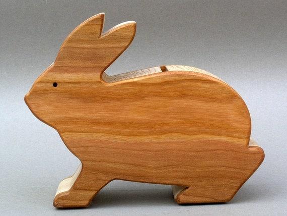 Wooden Bunny Piggy Bank Rabbit Coin Banks for Kids Children