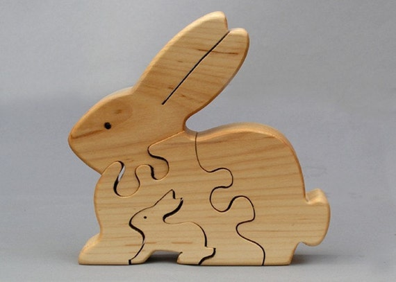 Rabbit Puzzle Wooden Waldorf toy for Kids Boys and Girls ... Wooden Toddler Puzzle