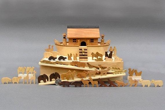 Miniature Noah's Ark with  60 Animals Handmade from 16 Different Woods Wooden Noahs Ark Sunday Toy Wooden Noahs Arc Waldorf Gift