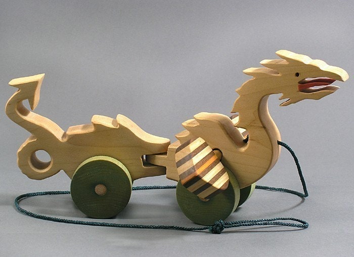 Wooden Toys For Boys : Dragon pull toy animated wooden for toddlers kids girls