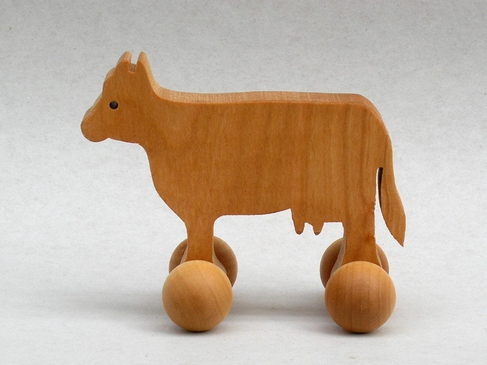 Small Toy Cows : Cow toy on wheels wooden block animals for children farm