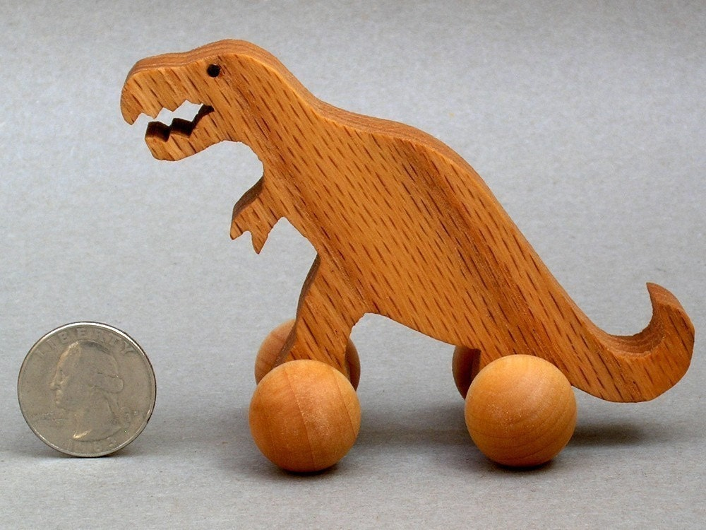 T Rex Toy with Wheels Wooden Dinosaur Block Animal Kids Party