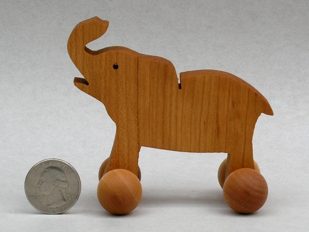Elephant on Wheels Wooden Toys with Wheels by ArksAndAnimals