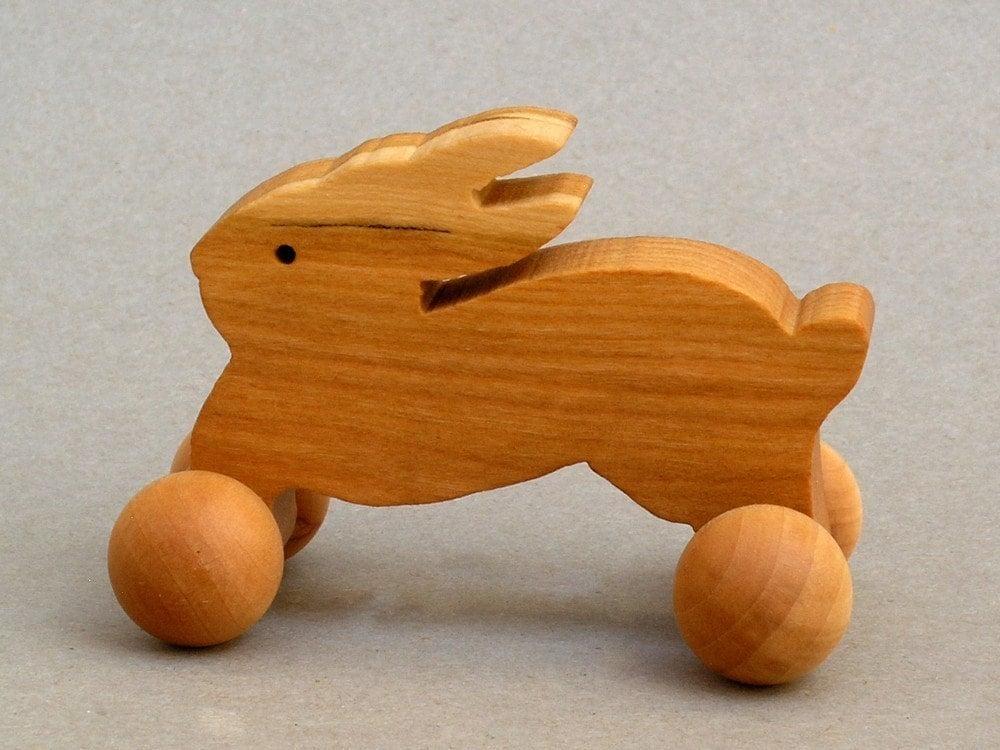 Rabbit Toy On Wheels Wooden Block Animal For Children
