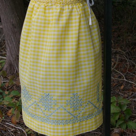 Vintage Half Apron - Yellow/White Check - Hungarian