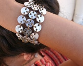 silver bracelet cuff, made with leather  reversible bracelet silver and brown boho style
