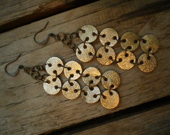 Gold leather earrings -