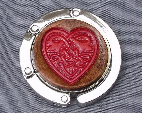 Collapsable Celtic heart purse hook handtooled leather red