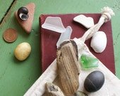Mixed Selection of Irish Sea Glass, Stones, Driftwood, Shells, Pottery, and Coins in a Hand Stamped Muslin Drawstring Bag