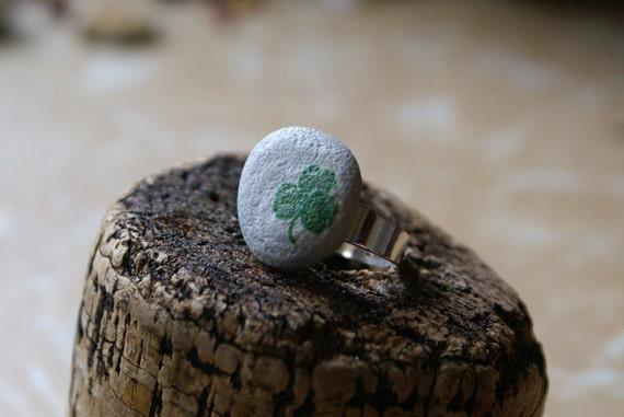 Beach Stone Ring with Vintage Shamrock Illustration -- Handmade in Ireland