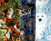Set of 3 Scarves featuring Owls, Foxes, and Polar Bears