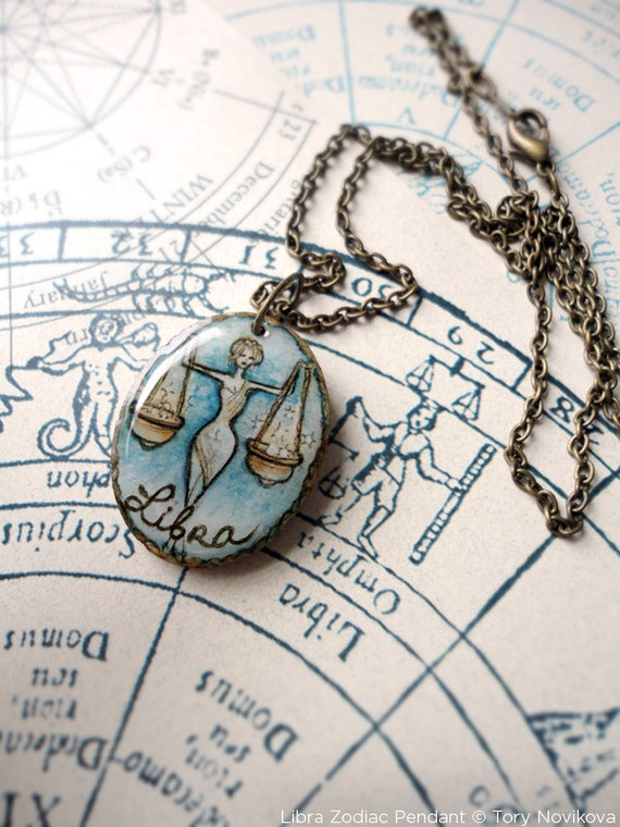 Libra Birthday, The Painted Zodiac Pendant and Brass Chain