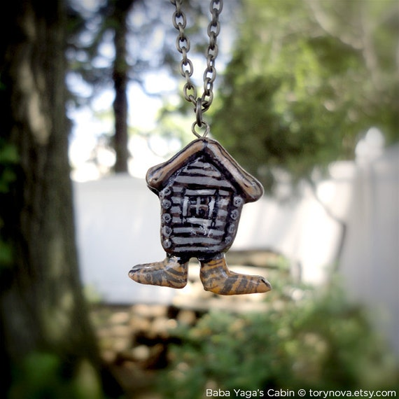 Baba Yaga's Cabin on Chicken Legs (Russian Folklore) Necklace