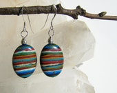 Rainbow Calsilica Earrings bright blue green white black pink golden rust multi color oval stones  handmade by me