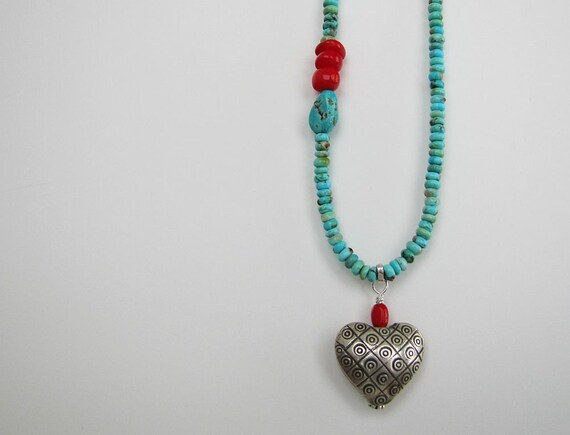 Heart Breaker Necklace one of a kind funky hill tribe silver scarlet red coral caribbean blue kingman turquoise love
