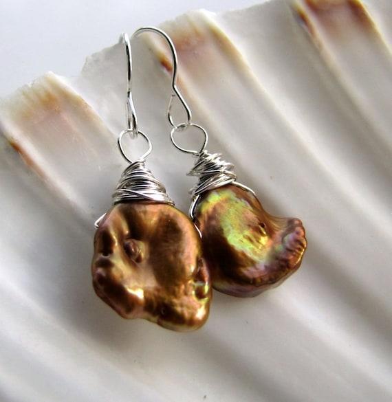 coppery love ... earrings ... keshi freshwater pearls