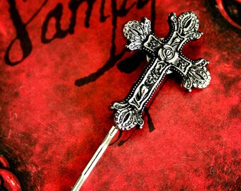 Ornate Gothic Cross Bobby Pin