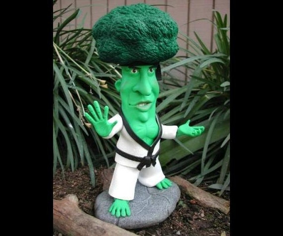 Brock Lee polymer clay sculpture Bruce Lee parody broccoli OOAK