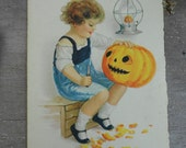 Sweet Vintage Halloween Postcard