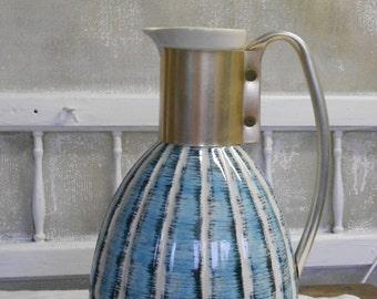 Vintage Ceramic  and Aluminum Blue Striped Pitcher Mid Century