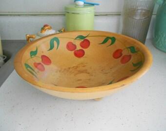 Vintage Wood Bowl with Cherries Rio Grande Woodenware