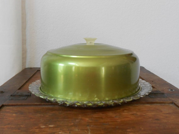 Vintage 1950s Aluminum Green Metal Cake Carrier
