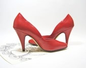 Vintage Leather Red High Heels Pumps by Sabree Softies