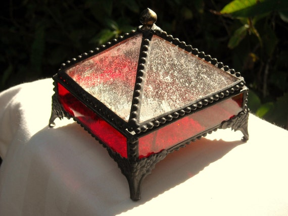Ruby Red Stained Glass Jewlery Box OOAK