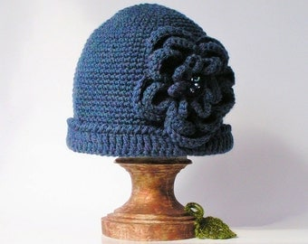 blue hat crochet, beanie with flower and crystals, handmade.