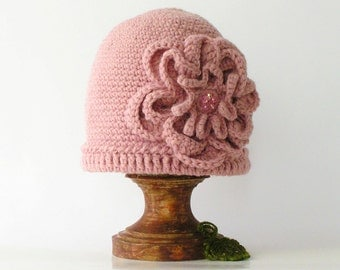 pink hat crochet, beanie, handmade with flower and crystals.