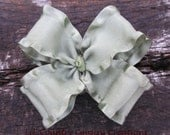 MOSS, SAGE, GREEN Double Layered Double Ruffled Hair Bow on Clip