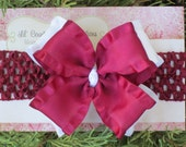 MAROON and WHITE Double Layered Hair Bow on CLIP - Soft and Sweet