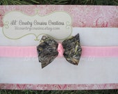 Mossy Oak Breakup Camo & Pink Small Hair Bow on Soft Pink Headband - Great for Babies - Realtree Patterns Available