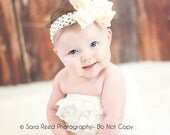 IVORY CREAM Double Ruffle Double Layered Hair Bow on Ivory Crochet Headband - For Girls of All Ages