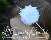 SHABBY - FRAYED - WHITE - Chiffon Rosette on Thin, Stretchy White Headband - Perfect for Babies, Toddlers, Little Girls