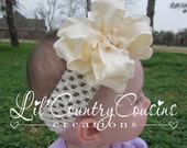 IVORY CREAM Double Ruffle Double Layered Hair Bow Clip - For Girls of All Ages