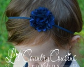 NAVY Blue SATIN Layered FLOWER Hair Bow Headband - Dainty and Cute - Great for Babies, Toddlers, Young Girls