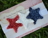 LIMITED EDITION - Red, White and Blue Shabby Stars on Shimmery, Stretchy Headband - 4th of July - Patriotic Colors