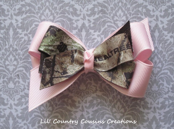Realtree AP Camo & Powder Pink Hair Bow on Clip - Other Realtree Camo Patterns, Mossy Oak BreakUp available - For Babies, Children, Ladies
