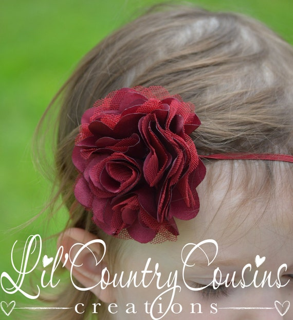 BURGUNDY / MAROON Layered Flower Hair Bow on Thin Stretchy Headband - Dressy Headband - Great for Babies, Toddlers, Girls
