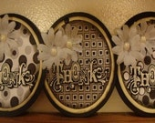 Thanks Cream embossed with pearl Daisies