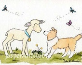 Nursery Art- Sheltie with Sheep- Who Are Ewe- 8X10 Archival PRINT for Baby